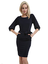 Women's Sexy Cute Party Work Plus Sizes Micro Elastic ½ Length Sleeve Knee-length Dress (Cotton)