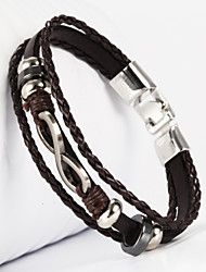 leather Charm BraceletsThree Layer Buckle Infinity 8 Shape PU Leather Men's Bracelet Christmas Gifts
