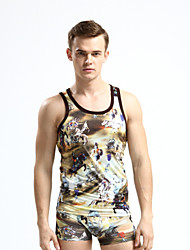 Men's Print Casual Tank Tops,Modal Sleeveless-Yellow / Gray