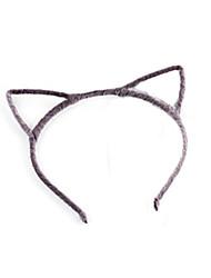 Sweet Cat's Ear Shaped Black Flannelette Headbands For Women(Black,Gray)(1 Pc)