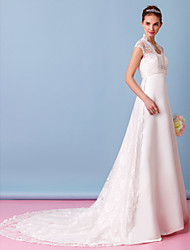 LAN TING BRIDE A-line Wedding Dress See-Through Chapel Train Sweetheart Lace Satin with Lace