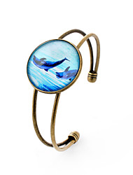 Lureme® Simple Jewelry Time Gem Series Ocean Dolphin Charm Cuff Bangle Bracelet for Women and Girl