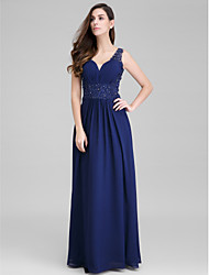 Sheath / Column Sweetheart Floor Length Chiffon Prom Formal Evening Dress with Appliques Side Draping by TS Couture®