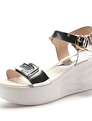 Women's Shoes Leatherette Wedge Heel Wedges / Peep Toe Sandals Wedding / Office & Career / Dress Black / Silver