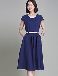 Women's Simple Solid A Line Dress,Round Neck Knee-length Linen