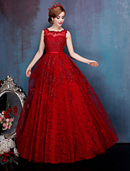 A-line Wedding Dress-Burgundy Floor-length Jewel Lace