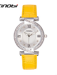 SINOBI® Designer Womens Watches Famous Brand Ladies Leather Wrist Quartz-watch Diamond Quality Females Clocks Cool Watches Unique Watches