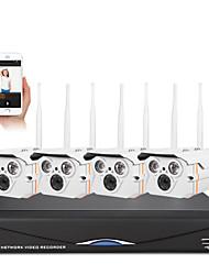 sannce® 4 canales red doméstica 1.0MP 720p IP de la seguridad NVR poe sistema de kit de cámara inalámbrica sistema de circuito cerrado de