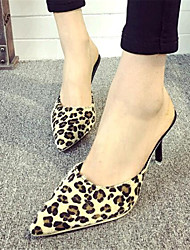 Women's Shoes Leatherette Stiletto Heel Heels Slippers Casual Brown / White