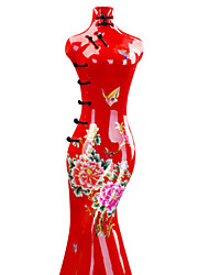 Modern Cheongsam Ceramic Craft Ornaments for Home Decoration 1pc