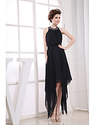 Cocktail Party Dress Sheath/Column Jewel Tea-length Chiffon
