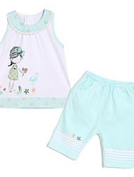Girl's Clothing Set,Cotton Summer Blue