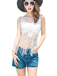 Women's Beach Sexy / Vintage Summer Blouse,Solid Round Neck Sleeveless White Rayon / Polyester Thin
