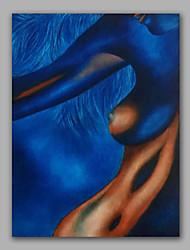 Blue Nude Breast Nice Woman Curve Seduction Handmde Oil Painting