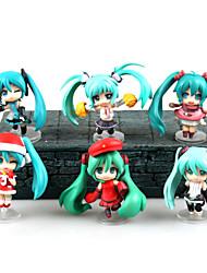 6PCS Christmas Miku Hatsune 7CM PVC Anime Action Figures Doll Toys
