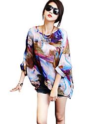 Women's Formal Plus Size All Seasons Blouse,Print Cowl Long Sleeve Black Cotton Medium