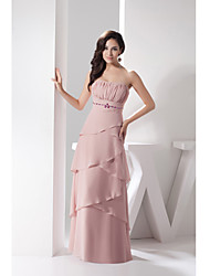 Formal Evening Dress Sheath/Column Strapless Floor-length Chiffon / Charmeuse