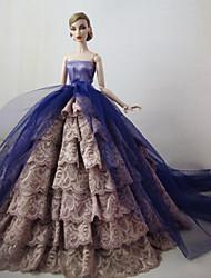 Barbie Doll-Festa e Noite-roxo claro / Linho- deCetim / Renda-Vestidos- comVestidos