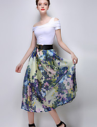 Women's Floral Blue / Yellow Skirts,Casual / Day Midi