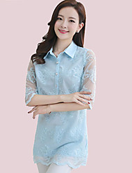 Women's Casual/Daily Cute Summer Blouse,Solid Shirt Collar ½ Length Sleeve Blue / Pink / White Polyester Thin