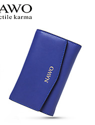 NAWO Women Cowhide Checkbook Wallet Blue-N352171