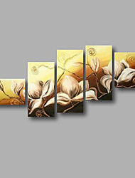 "Stretched (ready to hang) Hand-painted Oil Painting 60""x32"" Canvas Wall Art Modern Flowers White Beige"