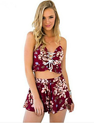 Women's Casual/Daily Street chic Summer Set,Floral Strap Sleeveless Red Polyester Thin