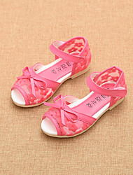 Girls' Shoes Dress / Casual Peep Toe / Comfort / Open Toe Tulle / Sandals Blue / Pink / Red