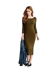 De las mujeres Vaina Vestido Simple Un Color Midi Escote Redondo Algodón