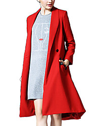Women's Solid Red / Gray Coat,Simple Long Sleeve Polyester