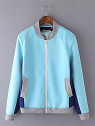 Women's Patchwork Blue / Yellow Jackets,Street chic V Neck Long Sleeve