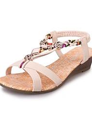 Women's Shoes Leatherette Wedge Heel Wedges / Peep Toe / Round Toe Sandals Outdoor / Casual Black / Beige