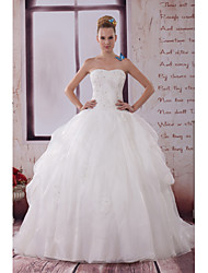 A-line Wedding Dress Chapel Train Strapless Organza / Satin with Beading / Criss-Cross / Appliques