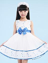 A-line Short / Mini Flower Girl Dress - Organza / Satin / Polyester Sleeveless Jewel with