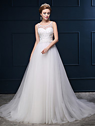 Princess Wedding Dress Court Train Scoop Cotton / Lace / Tulle with Beading / Button / Embroidered / Lace
