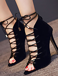 Women's Shoes Fleece Stiletto Heel Open Toe Sandals Dress Black