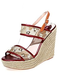 Women's Shoes Satin Wedge Heel Wedges / Heels / Platform / Slingback Sandals Outdoor / Party & Evening / Dress Red