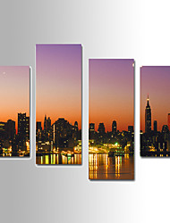 U2art®Landscape Canvas Print City Night Scene Four Panels Ready to Hang , Vertical For Living Room(No Frame)