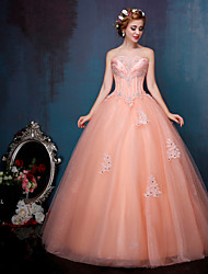 Princess Wedding Dress-Orange Floor-length Sweetheart Crepe / Lace / Tulle