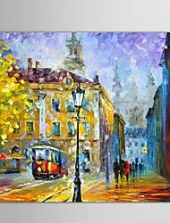 Peint à la main Abstrait / Paysage / Paysages AbstraitsStyle européen Un Panneau Toile Peinture à l'huile Hang-peint For Décoration