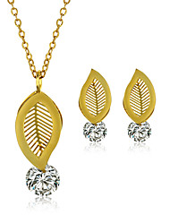 Jewelry Set Stainless Steel Zircon Titanium Steel Fashion Leaf Golden Necklace/Earrings Wedding Party Daily Casual 1set Necklaces Earrings