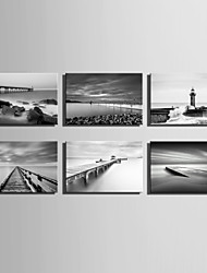 E-HOME® Stretched Canvas Art Grey Water View Series Decoration Painting MINI SIZE One Pcs