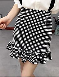 Women's Check Black Skirts,Simple Above Knee