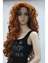 New Fashion Hair Women's Cosplay Party Wig Copper Red Long Curly Bangs Full Wig