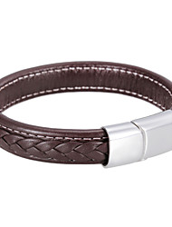 Simple Stainless Steel Clasp Real Leather Bracelets 1pc