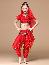Belly dance/Indian dance Outfits Children's Performance Chiffon Gold Coins / 5 Pieces Fuchsia / Red / Yellow