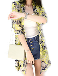 Women's Floral White  Beige  Black  Orange  Yellow Shirt,Asymmetrical ¾ Sleeve