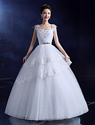 Ball Gown Wedding Dress Floor-length Sweetheart Lace / Satin / Tulle with Beading / Crystal / Sequin