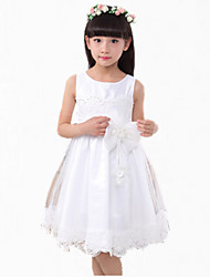 Girl's Pink / White Dress,Bow Cotton Summer