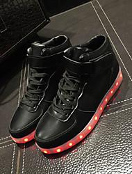 Feminino MasculinoLight Up Shoes-Rasteiro-Preto Branco Prateado-Courino-Ar-Livre Casual Para Esporte